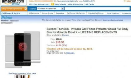 Droid X Accessory: Skinomi Techskin, a Screen Protector Shield costing $18.99