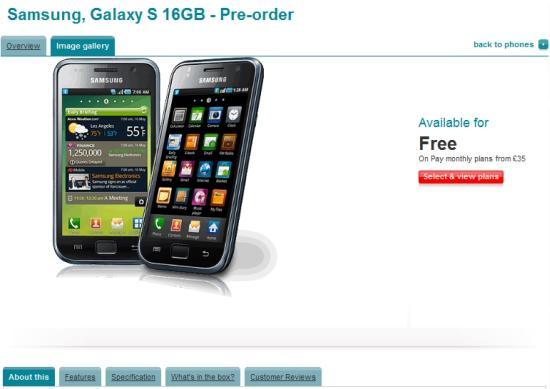Pre-Order Samsung Galaxy S - Vodafone UK