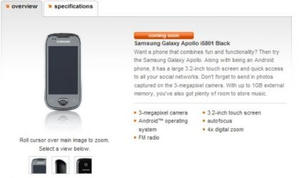 Samsung Apollo, i5801 'coming soon' to Orange UK