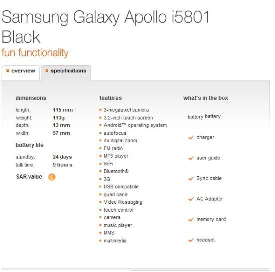 Samsung Apollo i5801 Spec Sheet