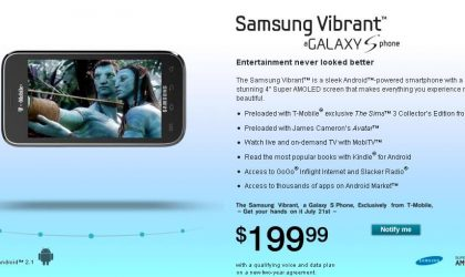 Samsung Vibrant to Launch on July 21 with T-Mobile for $199