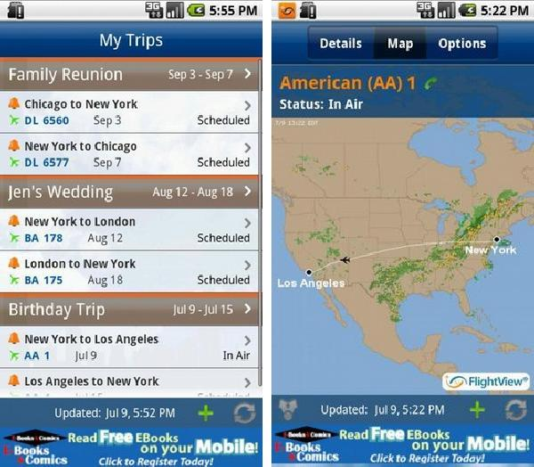 FlightView free flight tracker android app
