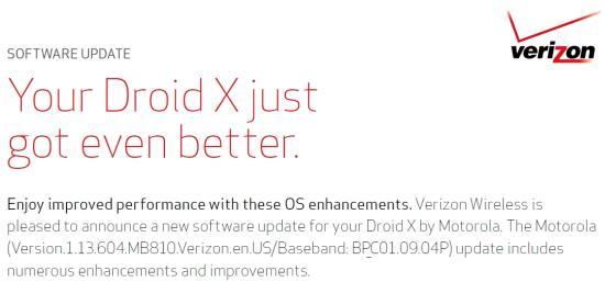 Motorola DroidX Update Version 1.13.604
