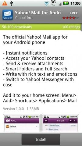 Yahoo! on Android: Mail App, Messenger App and Search Widget