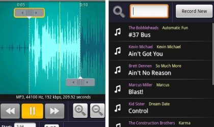 Create own ringtones with Ringdroid's easy to use graphical interface