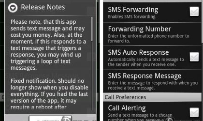 Set the Automatic SMS Alerts / Forwarding with dgAway on your Android Phone