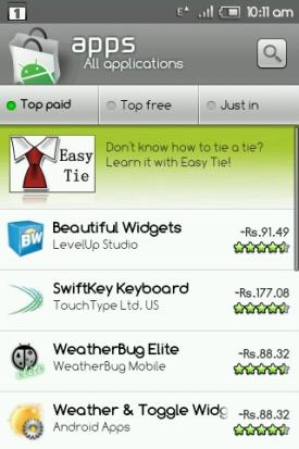 India Android Market Paid Apps