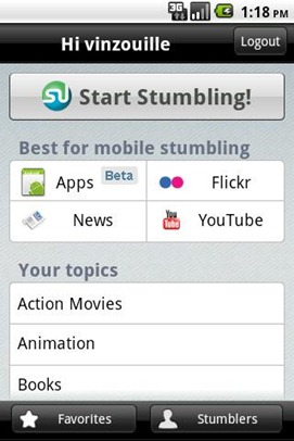 StumbleUpon for Android gets an update, now Stumble through Android apps