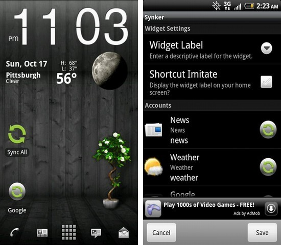 Synker beta - The Sync Widget Android App