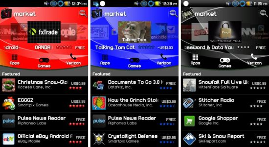 Android Market Red Blue Black Color