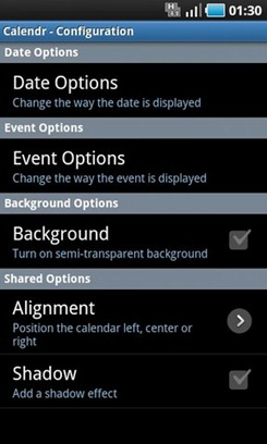 Calendr Android Widget Options
