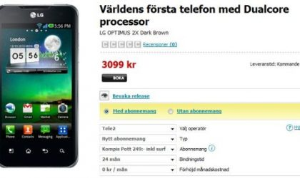 LG Optimus 2X spotted Selling on a Swedish website for 4999 kronors, that's $731 approx