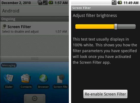 Screen filter app