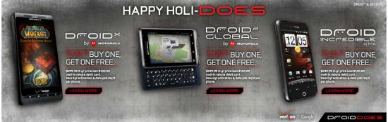 'Buy One Get One' Free Available for Droid Incredible, Droid X and Droid 2 Global from Verizon