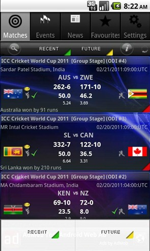 World Cup cricket live score 3