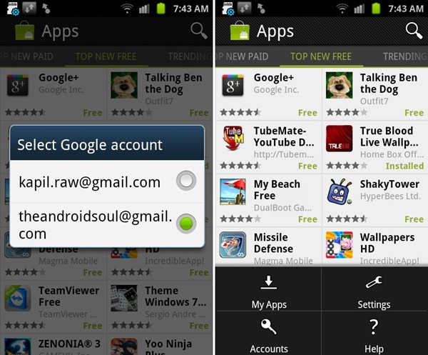 multiple Accounts Login Android market