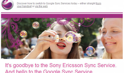 Sony Ericsson to close down their Sync service, says hello to Google Sync service