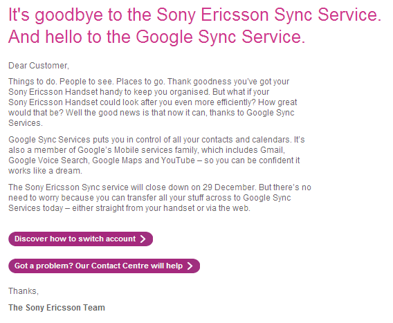 Sony Ericsson - Get ready for a new sync service