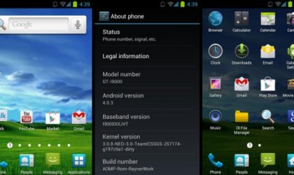 TouchWiz 4 and Android 4.0 on Galaxy S — AOMP Custom ROM