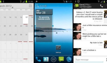 Stock Google Android 4.0 Ice Cream Sandwich Apps: Launcher, Calendar and Messaging