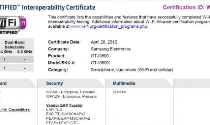 Samsung I9800 Gets Wi-Fi Certification — A Variant of the S3 or the S3 Itself?