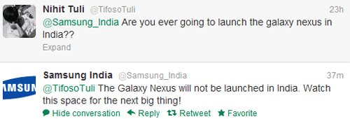 Galaxy Nexus Not Coming to India, Samsung says to wait for the next big thing!
