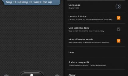 Galaxy S3 S Voice Android App