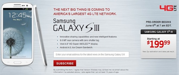 Verizon Galaxy S3 Specs