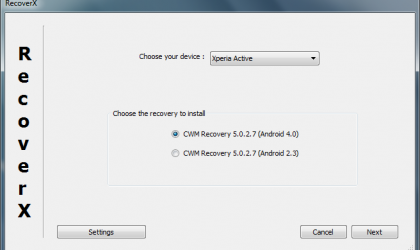 RecoverX: Install CWM ClockworkMod Recovery on Your Xperia Device Pretty Easily!