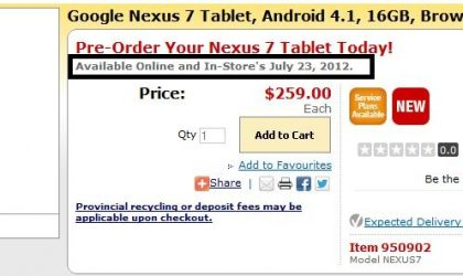 Nexus 7 Canada Release Date Pegged for July 23