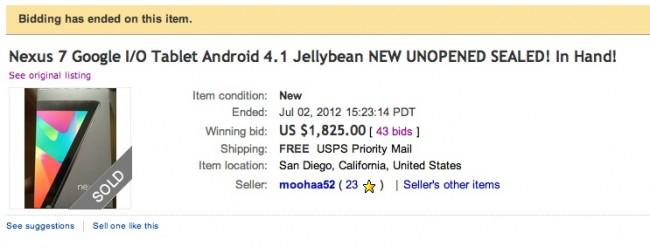 Nexus 7 Fetches $1825 in eBay Bid. Come Again?