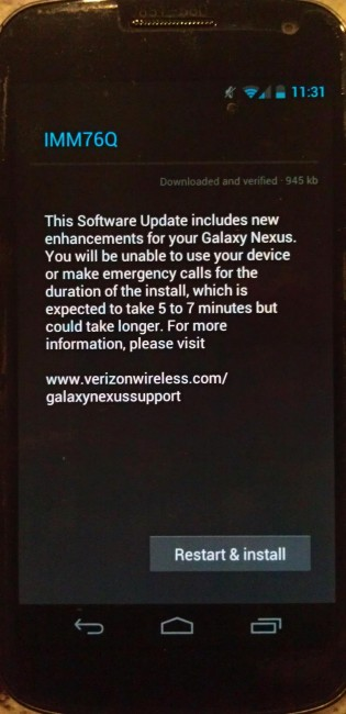 IMM76Q OTA Update for Galaxy Nexus at Verizon Shipping Out?