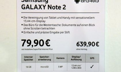 Samsung Galaxy Note 2 Price: €640 for Vodafone Edition (~$800)