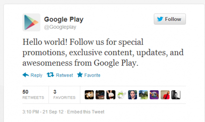 Google Play opens Twitter Account, follow the offers at @Googleplay