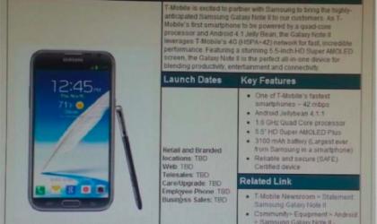 T-Mobile Galaxy Note 2 Specs confirmed in internal memo. Release Date still TBD!