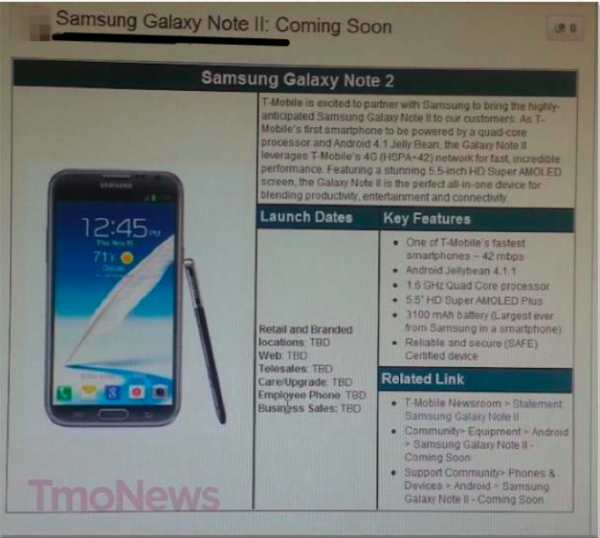 T mobile galaxy note 2 specs confirmed in internal memo for Galaxy note 2 release date features