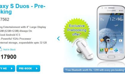Samsung Galaxy S Duos Price in India set at INR 17,900. Available for pre-order.