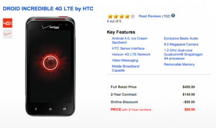 Droid Incredible 4G LTE Price reduced to $99, to make sense