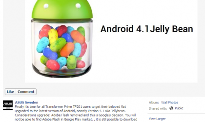 Jelly Bean Update for ASUS Transformer Prime Arrives in Sweden