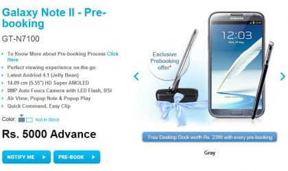 Galaxy Note 2 pre-orders started in US and India