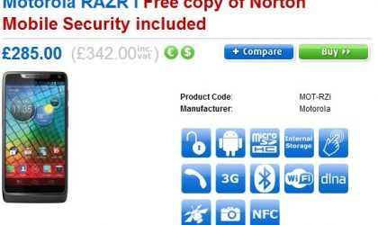 Motorola RAZR i price and release date in UK confirmed. Already available for pre-order