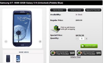 Unlocked Galaxy S3 32 GB Price drops to $639.50 at US online store