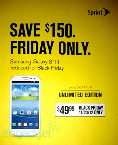 Sprint Galaxy S3 Price to reduce to $50 (75% discount) on Black Friday