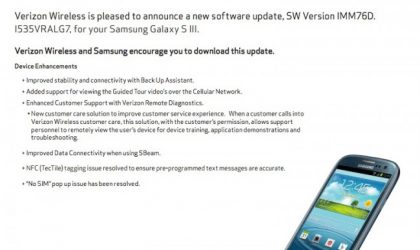 VRALG7 Update for Verizon Galaxy S3 is live! Brings the Remote Diagnostics Tool with it