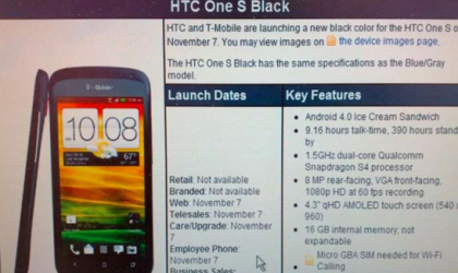 Black HTC One S release date set for Nov 7 at T-Mobile