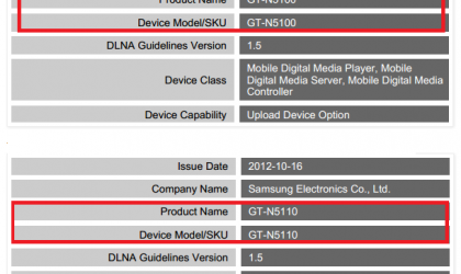 Galaxy Note 7 inch gets DLNA Certification, dubbed as GT-N5100/GT-N5110