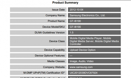 Galaxy S3 Mini GT-I8190 and GT-I8190L gets DLNA certification
