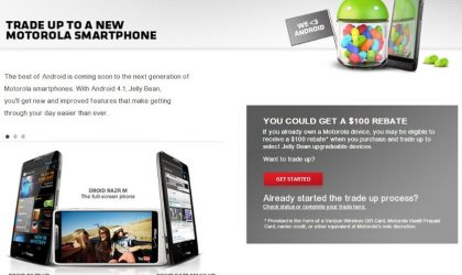$100 rebate eligible devices under tradeup offer listed out by Motorola