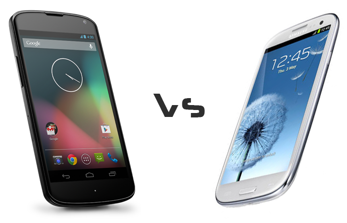 Nexus 4 Vs Galaxy S3 Comparison Image