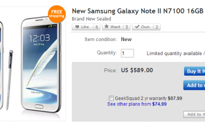 Unlocked Samsung Galaxy Note 2 Price on eBay: $589 only!